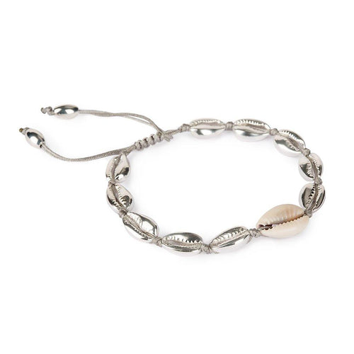 SMALL PUKA SHELL BRACELET IN SILVER WITH NATURAL SHELL