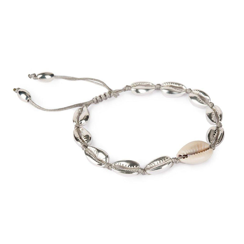 SMALL PUKA SHELL BRACELET IN SILVER WITH NATURAL SHELL - Tohum Design