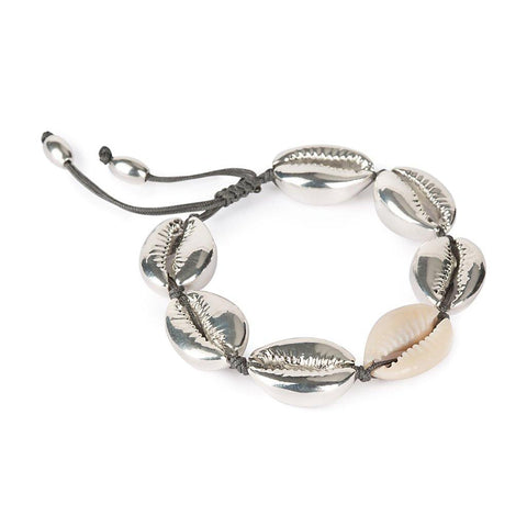 NATURAL LARGE PUKA SHELL BRACELET WITH SILVER SHELL