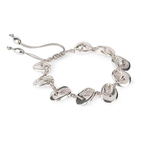 NATURAL LARGE PUKA SHELL BRACELET WITH SILVER CRAB SHELL