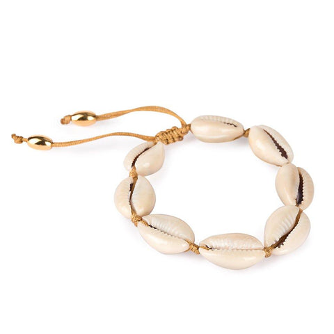 NATURAL LARGE PUKA SHELL BRACELET WITH GOLD SHELL
