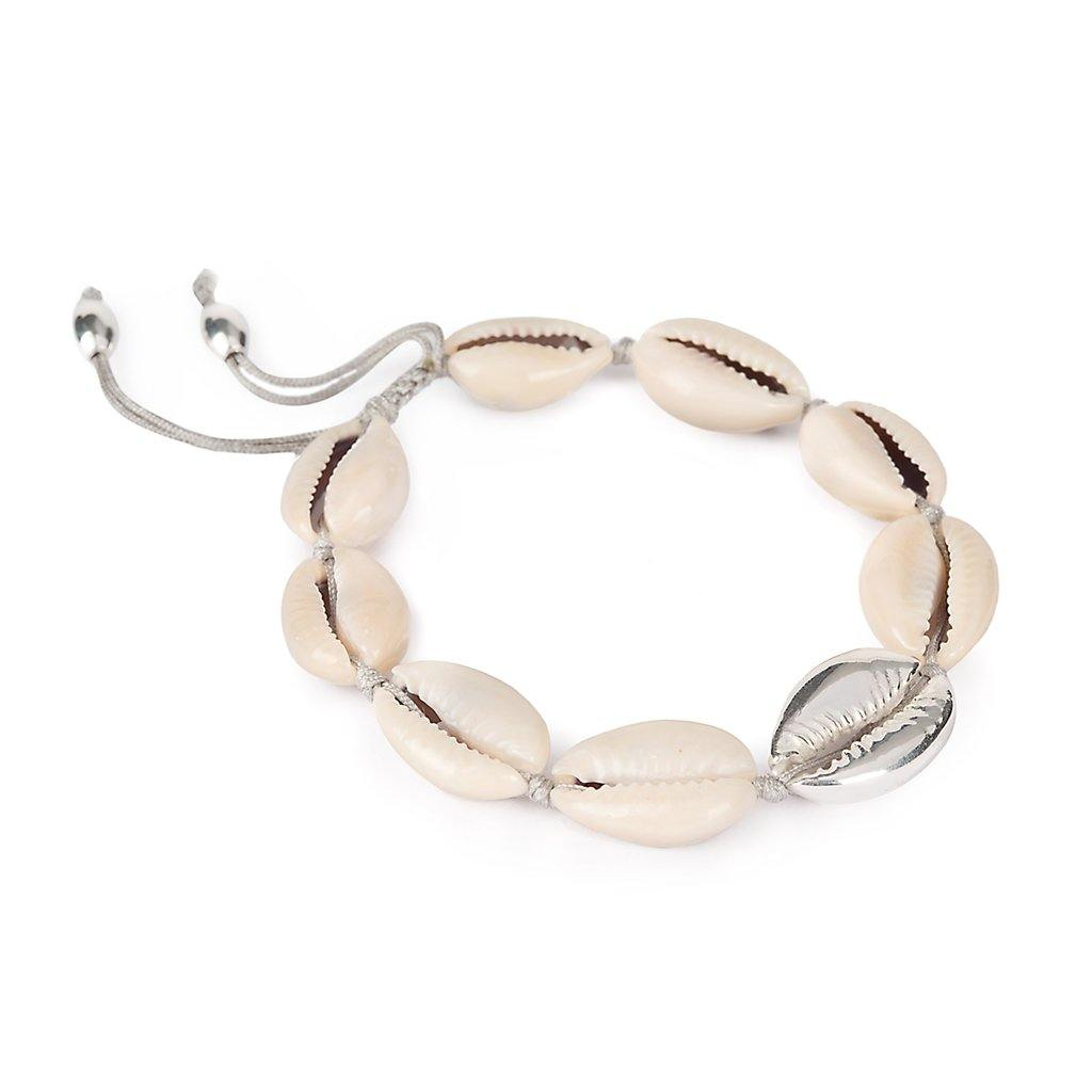 NATURAL LARGE PUKA SHELL BRACELET WITH SILVER SHELL - Tohum Design