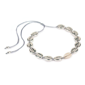 LARGE PUKA SHELL NECKLACE IN SILVER WITH NATURAL SHELL - Tohum Design
