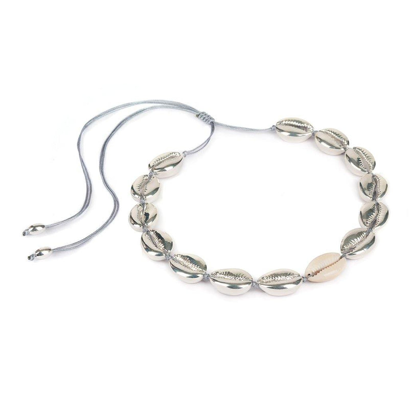 CONCHA LARGE PUKA SHELL NECKLACE IN SILVER WITH NATURAL SHELL - Tohum Design