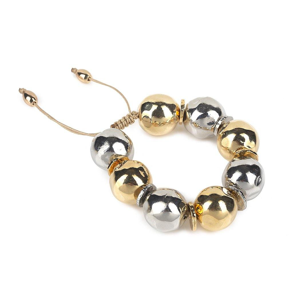 PURE LIGHT MIX SMALL GLOBE BRACELET IN GOLD AND SILVER - Tohum Design