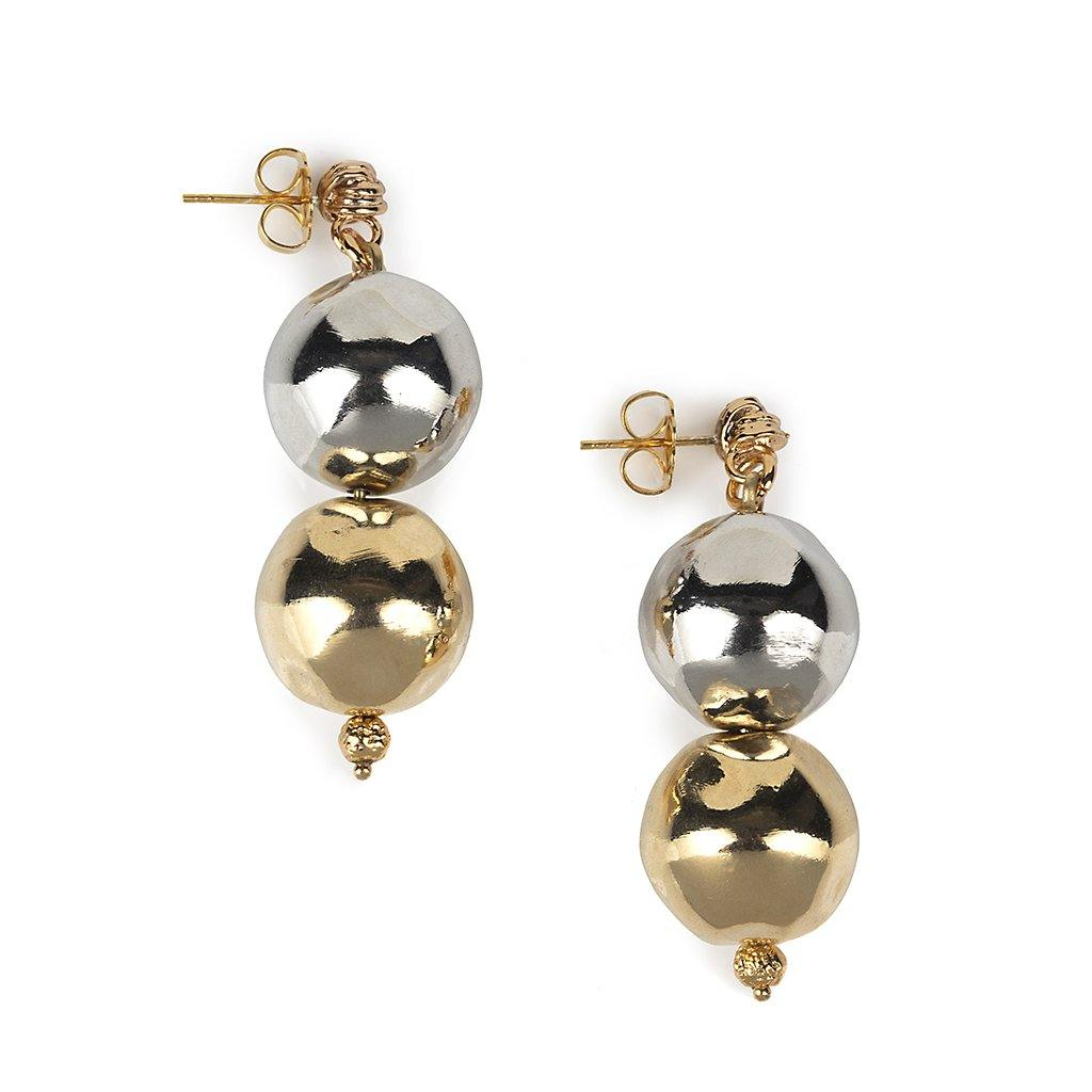 PURE LIGHT DUO GLOBE EARRINGS IN GOLD AND SILVER - Tohum Design