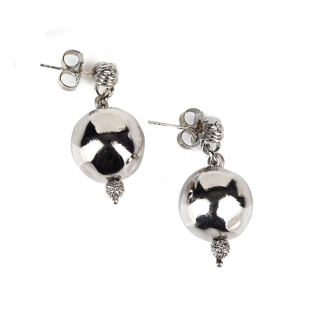 PURE LIGHT SMALL GLOBE EARRINGS IN SILVER - Tohum Design