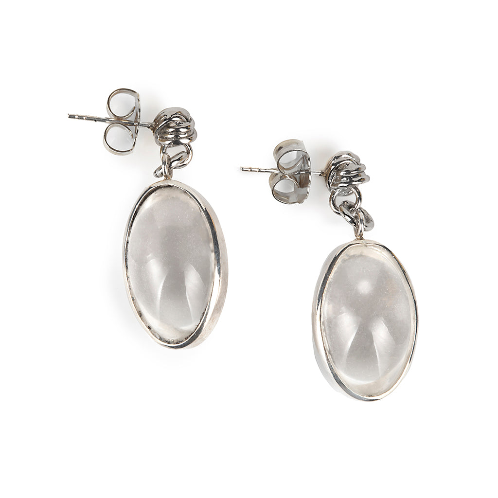 PURE LIGHT ROCK CRYSTAL EARRINGS IN SILVER - Tohum Design