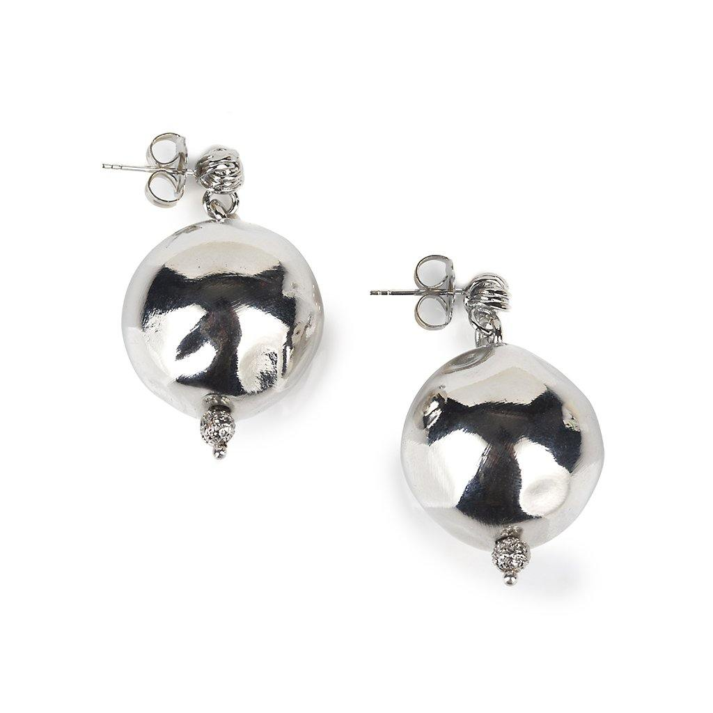 PURE LIGHT LARGE GLOBE EARRINGS IN SILVER - Tohum Design