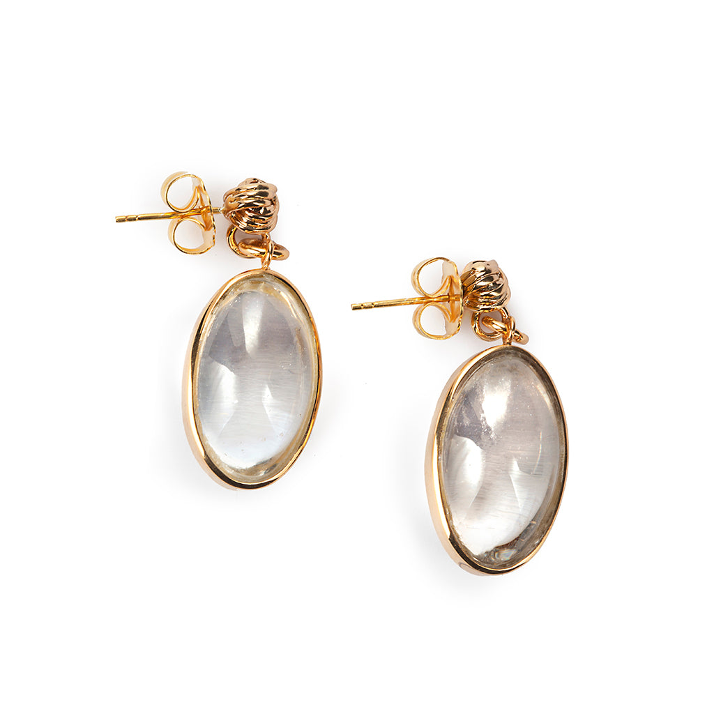 PURE LIGHT ROCK CRYSTAL EARRINGS IN GOLD - Tohum Design