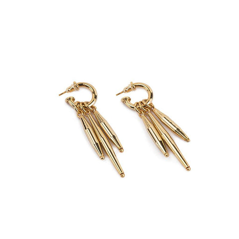 WOOD BEADS RESORT EARRINGS II IN GOLD