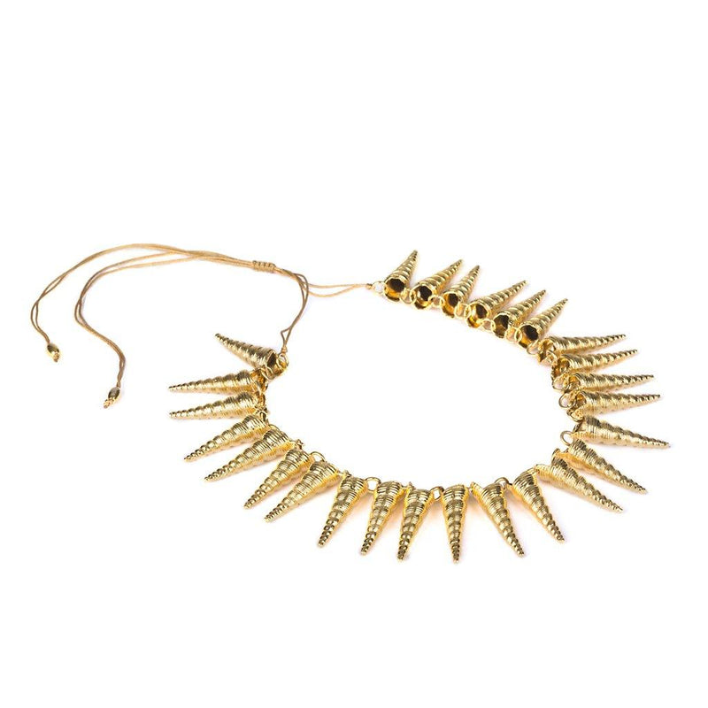 CONCHA CONE SHELL NECKLACE IN GOLD - Tohum Design
