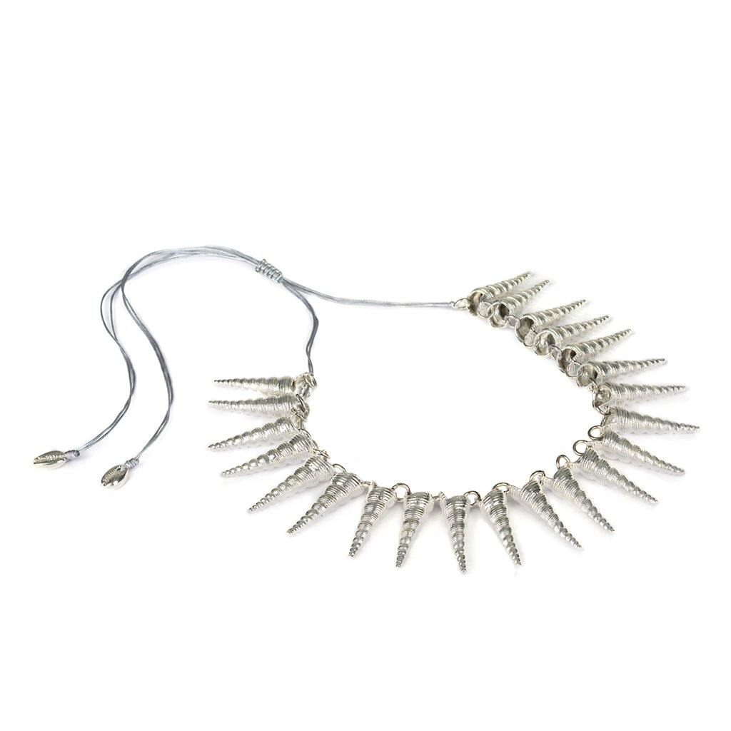 CONCHA CONE SHELL NECKLACE IN SILVER - Tohum Design