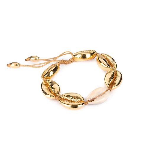 SMALL PUKA SHELL BRACELET WITH LARGE SHELL IN GOLD