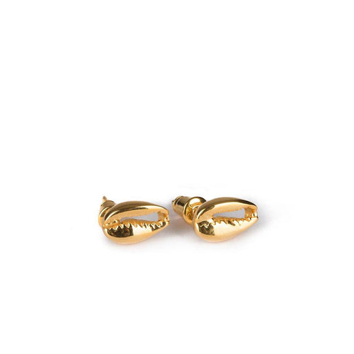 SMALL PUKA SHELL EARRINGS GOLD