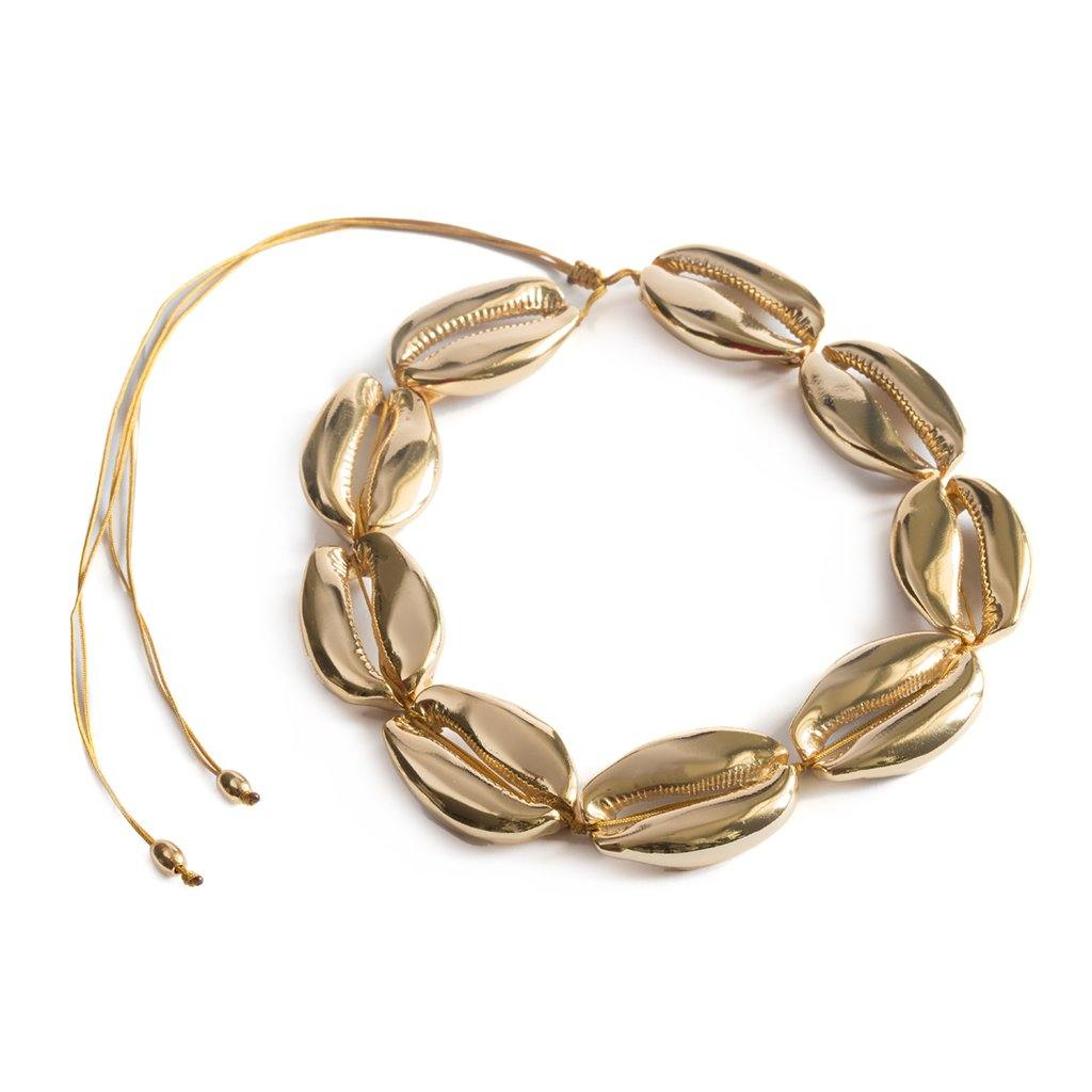 CONCHA MEGA PUKA SHELL NECKLACE IN GOLD - Tohum Design