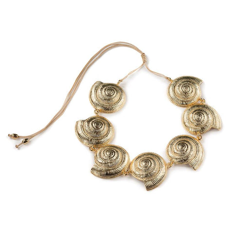 NATURAL LARGE PUKA SHELL NECKLACE WITH GOLD SHELL