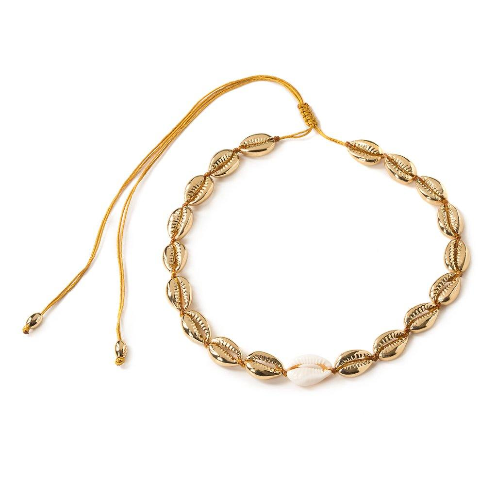 MEDIUM PUKA SHELL NECKLACE IN GOLD WITH NATURAL SHELL - Tohum Design