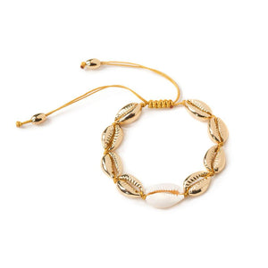 MEDIUM PUKA SHELL BRACELET IN GOLD WITH NATURAL SHELL - Tohum Design