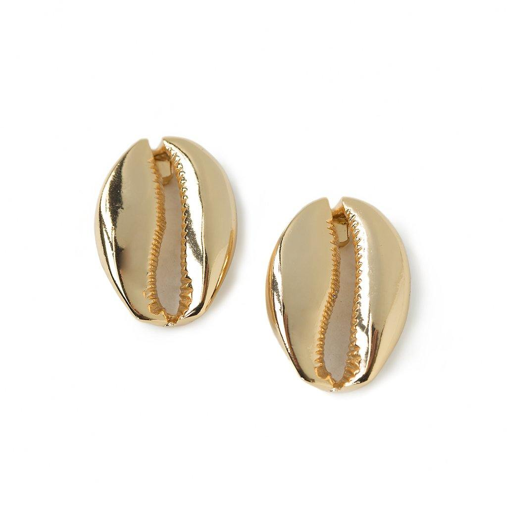 MEGA PUKA SHELL EARRINGS IN GOLD - Tohum Design