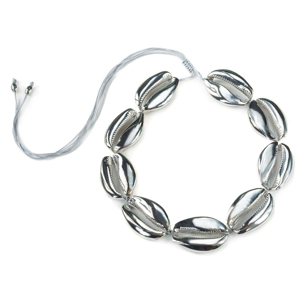 CONCHA MEGA PUKA SHELL NECKLACE IN SILVER - Tohum Design
