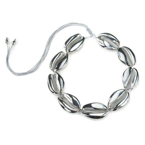 MEGA PUKA SHELL NECKLACE IN SILVER
