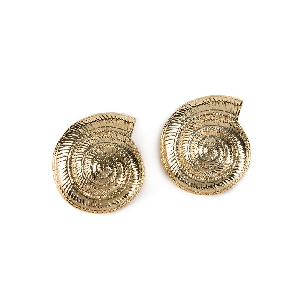 ARCHI SHELL EARRINGS IN GOLD - Tohum Design