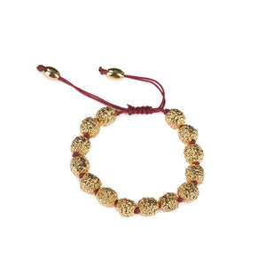 LUMIA RESORT GOLDEN SEEDS BRACELET BURGUNDY IN GOLD - Tohum Design