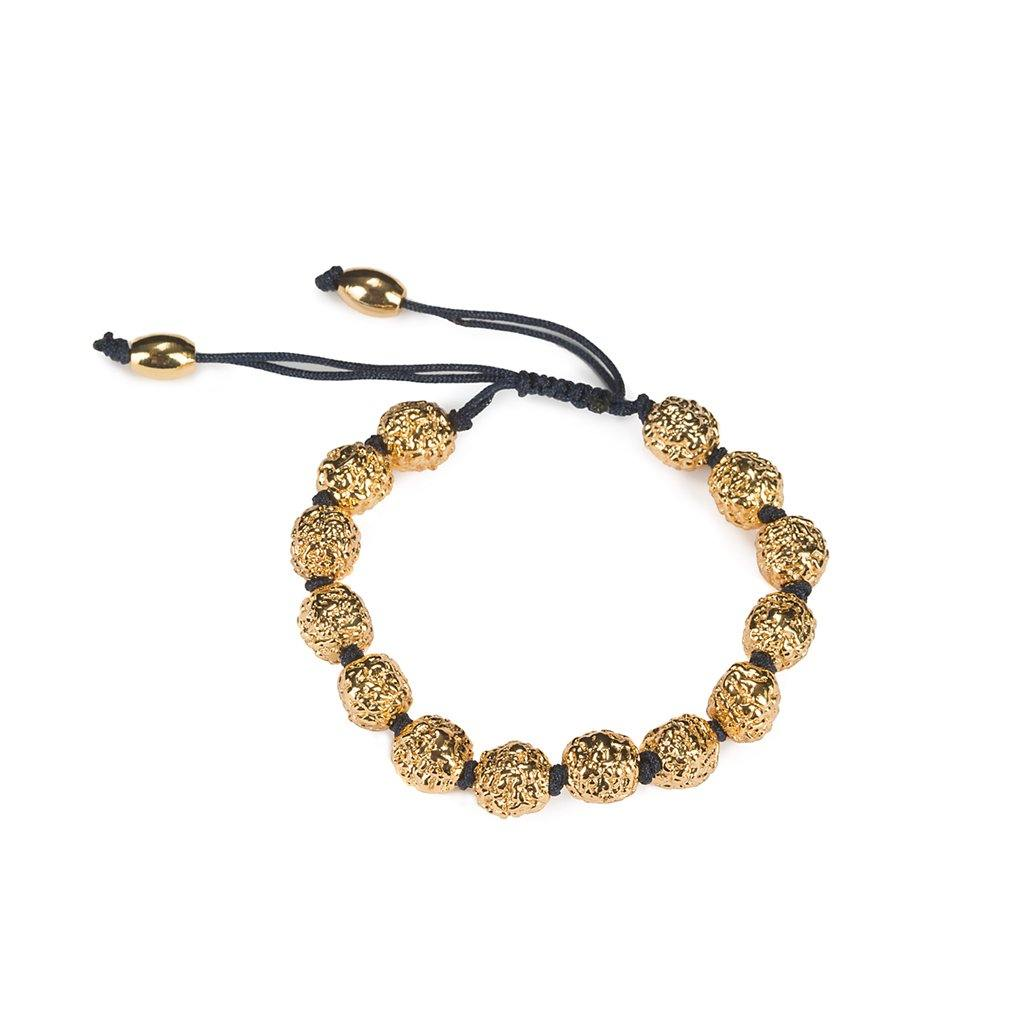 LUMIA RESORT GOLDEN SEEDS BRACELET BLACK IN GOLD - Tohum Design