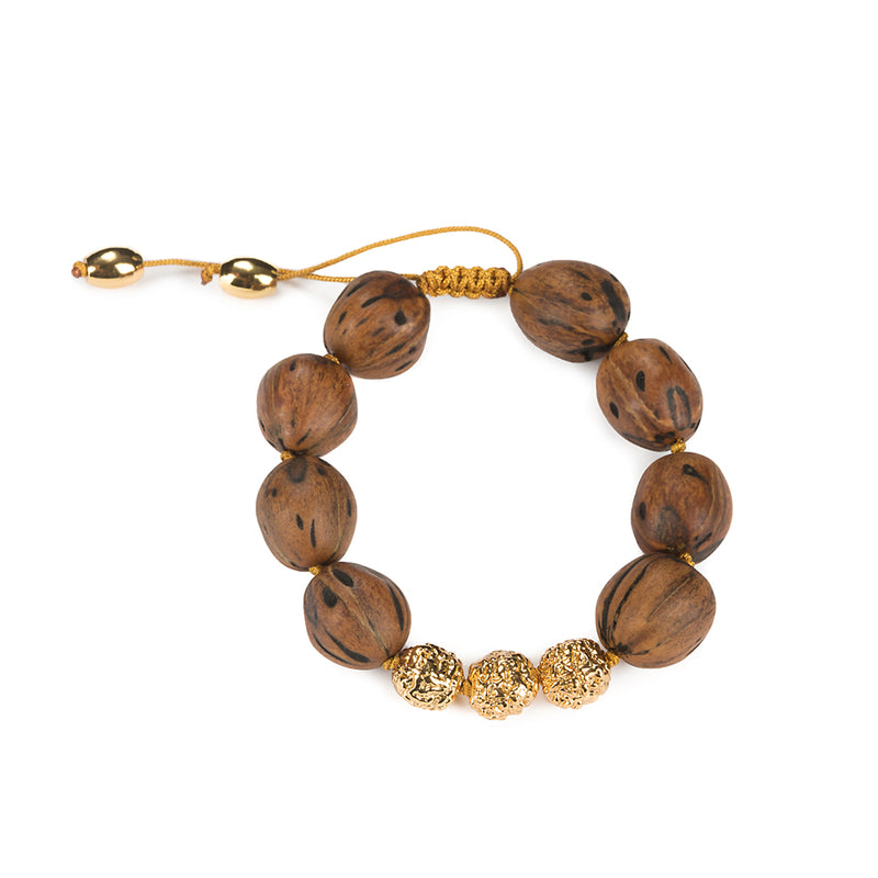 LUMIA RESORT WOOD BEADS GOLDEN SEEDS BRACELET II IN GOLD - Tohum Design