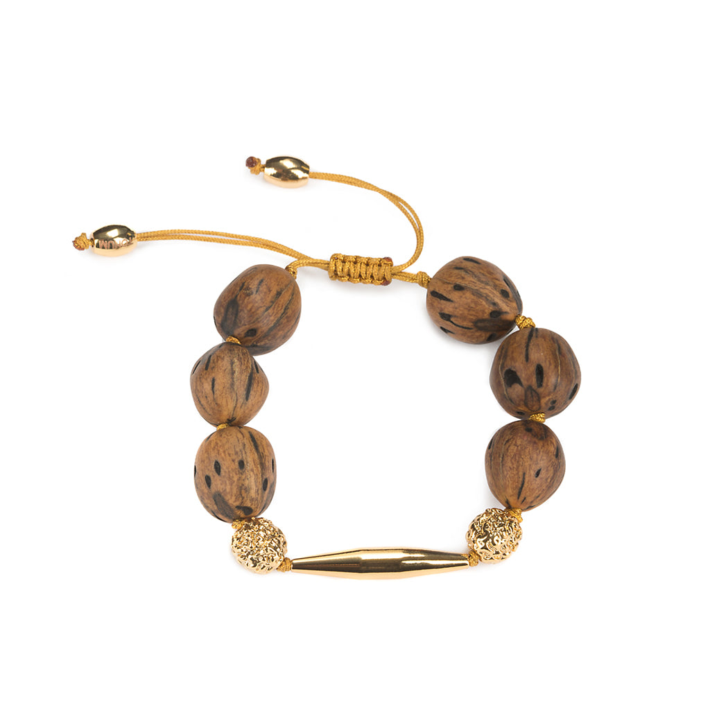 LUMIA RESORT WOOD BEADS GOLDEN SEEDS BRACELET IN GOLD - Tohum Design