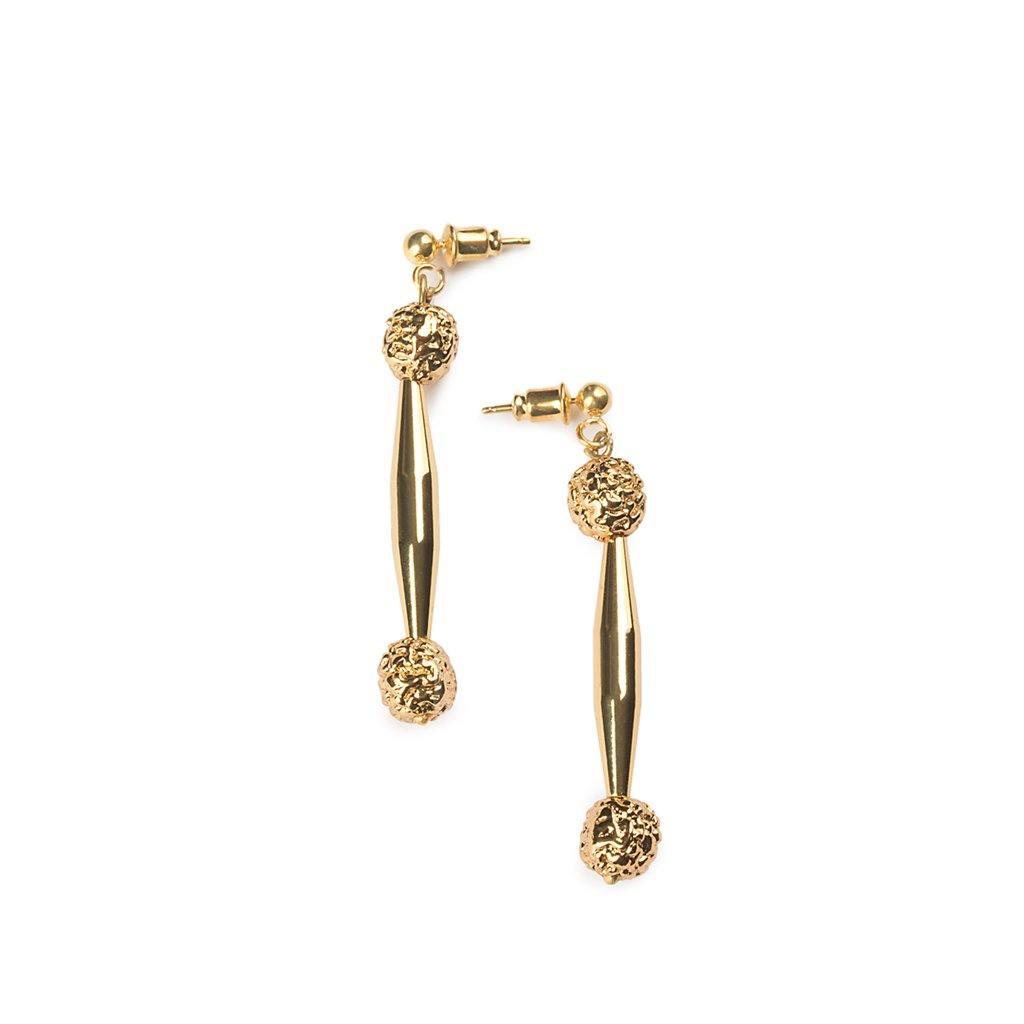 LUMIA RESORT GOLDEN SEEDS EARRINGS IN GOLD - Tohum Design