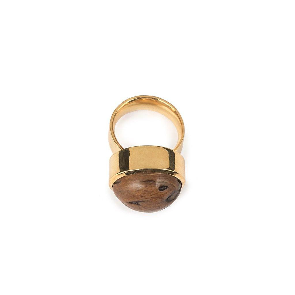 LUMIA RESORT WOOD BEADS  RING IN GOLD - Tohum Design
