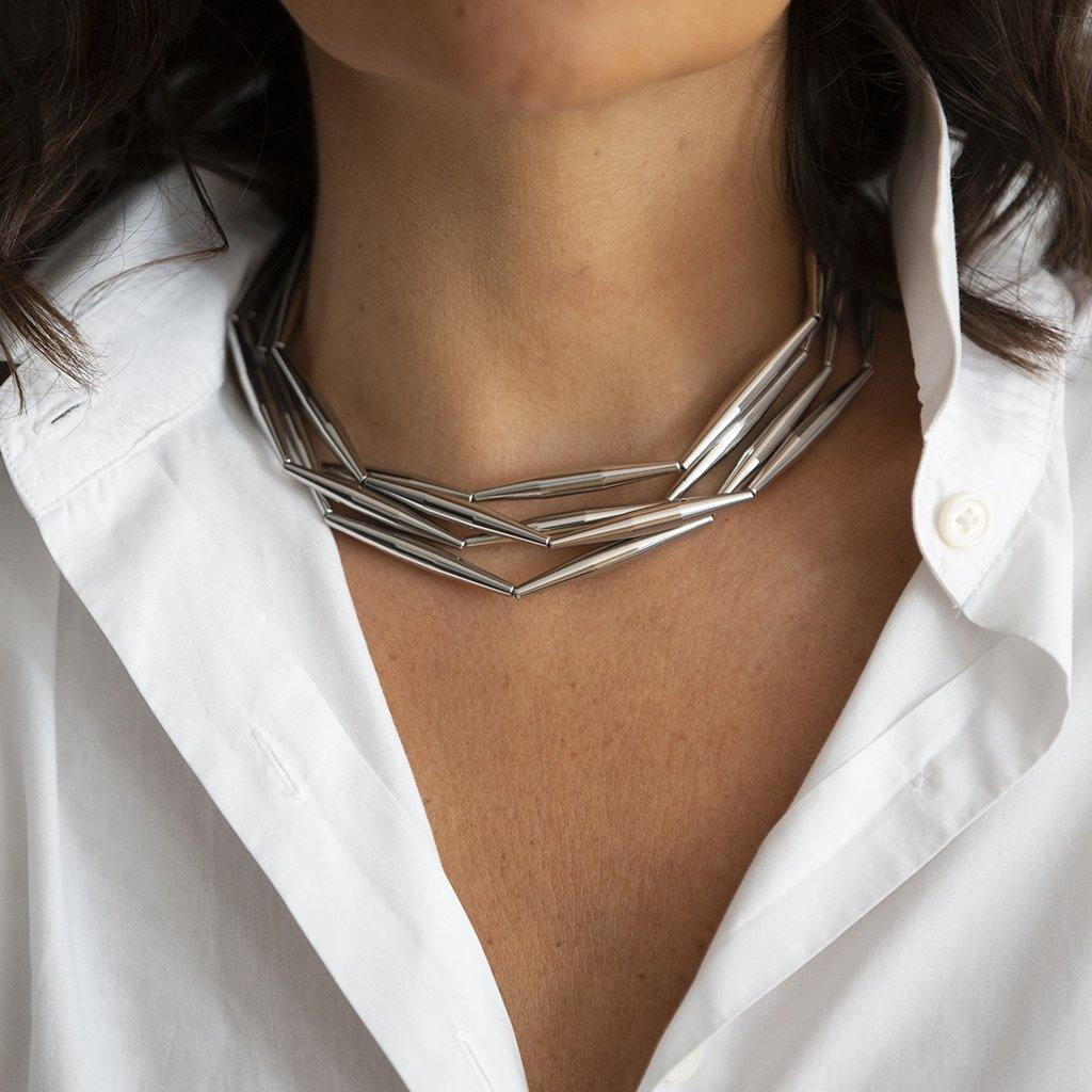 LUMIA HELIA MULTI CHAIN NECKLACE IN SILVER - Tohum Design