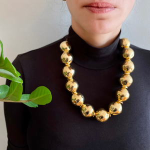 Pure Light Large Globe Choker Necklace In Gold - Tohum Design