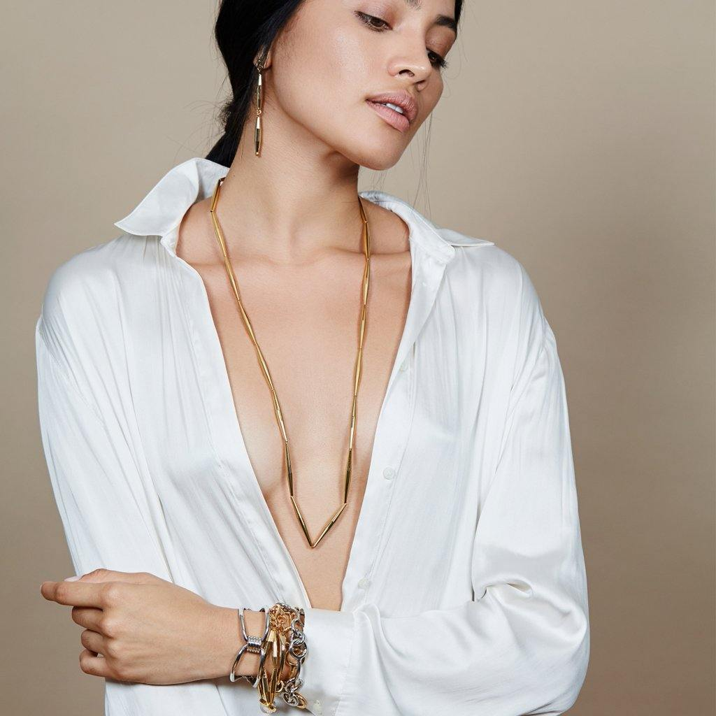 HELIA LONG CHAIN NECKLACE IN GOLD - Tohum Design