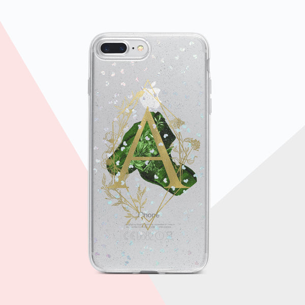Monogram holographic glitter and foil iPhone case