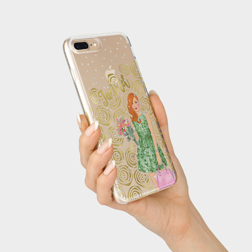 Blooming vibes holographic glitter and foil iPhone case