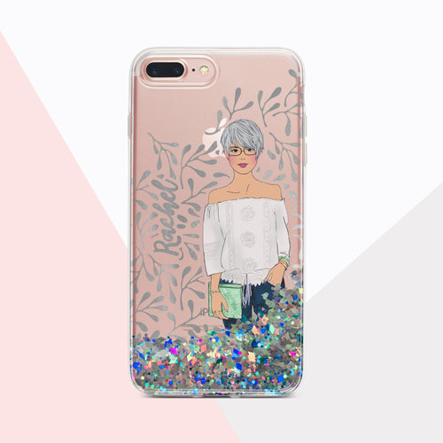 Whimsical bliss real fluid glitter and foil iPhone case