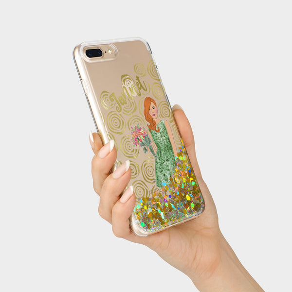 Blooming vibes real fluid glitter and foil iPhone case