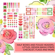 Blooming vibes fashion girl planner stickers kit