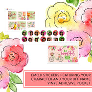 Blooming vibes romantic girl planner stickers kit