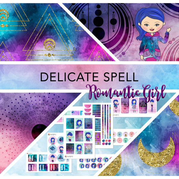Delicate spell romantic girl planner stickers kit