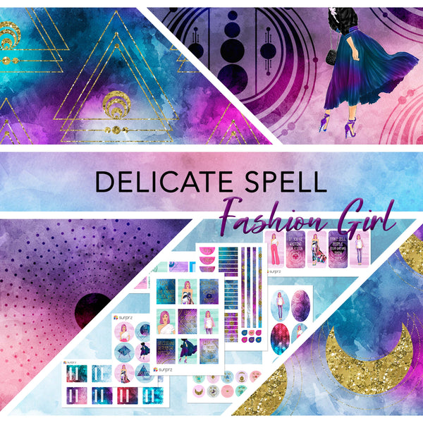 Delicate spell fashion girl planner stickers kit