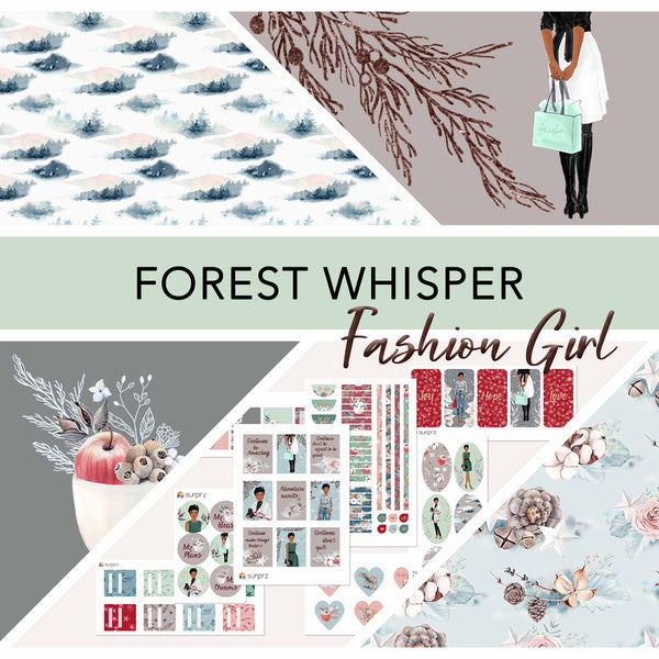Forest whisper fashion girl planner stickers kit