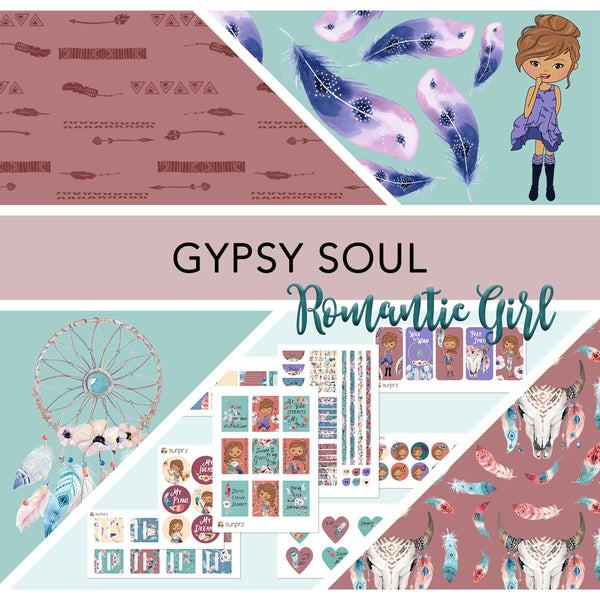 Gypsy soul romantic girl planner stickers kit