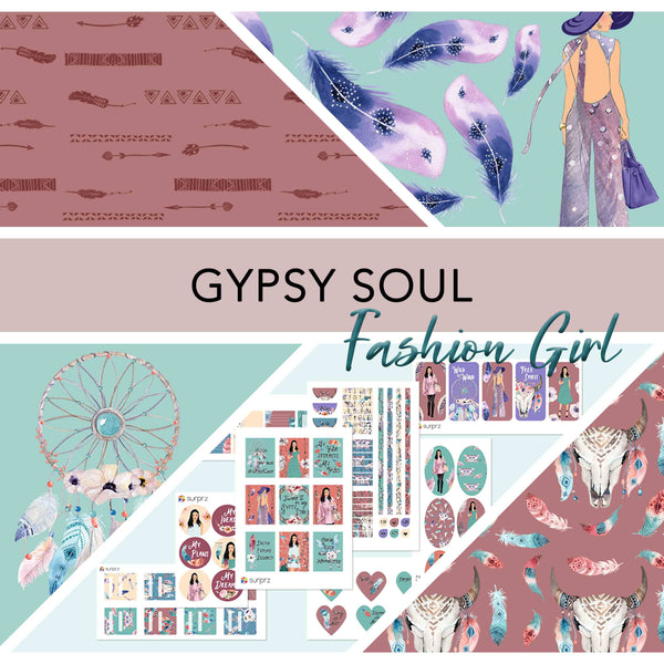 Gypsy soul fashion girl planner stickers kit