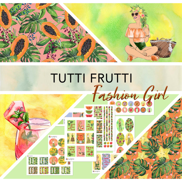 Tutti frutti fashion girl planner stickers kit