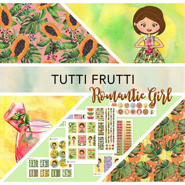Tutti frutti romantic girl planner stickers kit