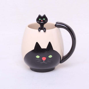 Hand-painted Coffee Cup,Lovely Panda/Frog/Cat/Pig Ceramic Mug Teacup include teaspoon